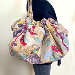 Accessorize Cotton Bird Embroidered & Bead Bag